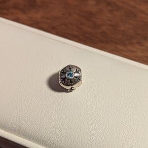 Retired Pandora Bracelet Snowflake Charm SS and CZ